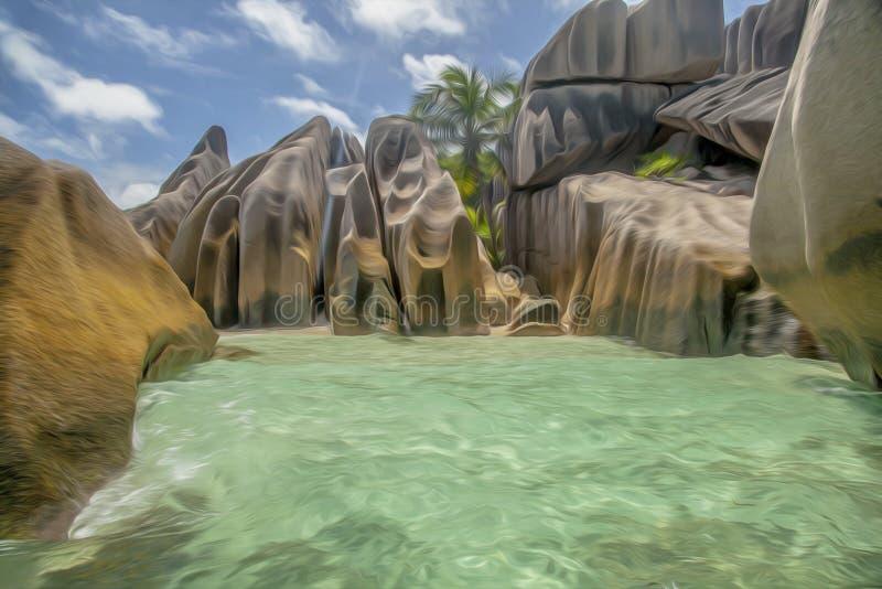 утесы и море в Сейшельских островах стоковые изображения rf