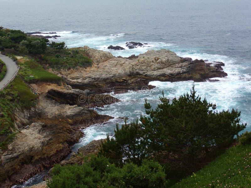Утесы Калифорнии прибрежные и скалы - поездки шоссе 1 вниз стоковое фото