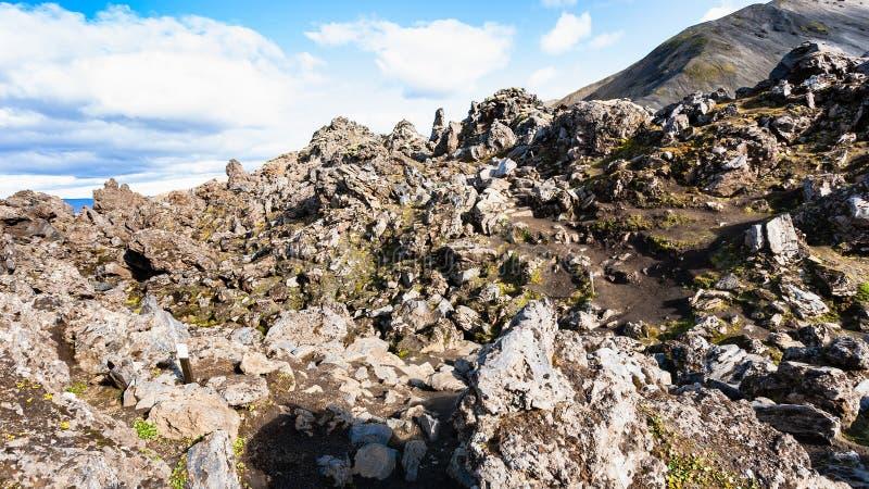 утесы на вулканическом наклоне на поле лавы Laugahraun стоковое изображение rf