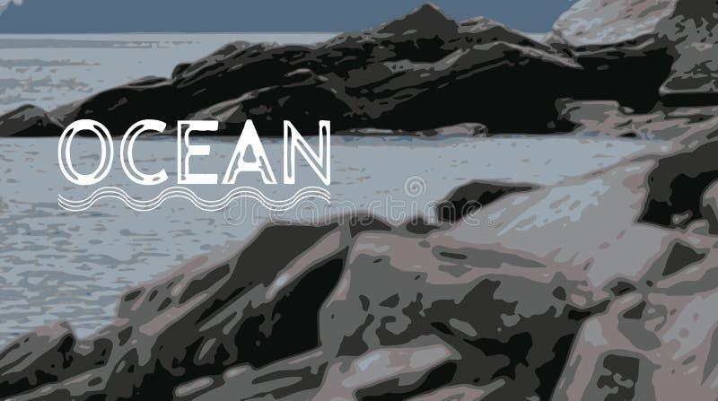 Утесы на ОКЕАНЕ в севере стоковое изображение rf