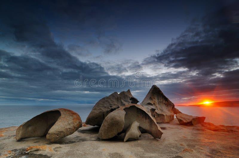 Утесы на пляже острова кенгуру стоковая фотография rf