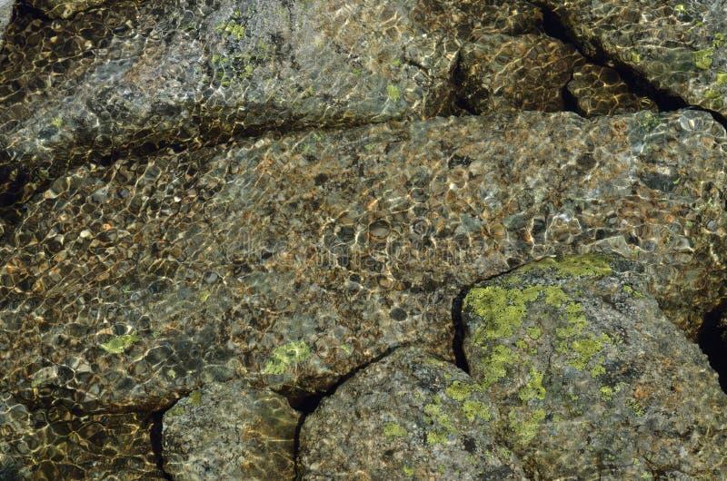 Утесы под чистой водой в потоке горы стоковое изображение rf