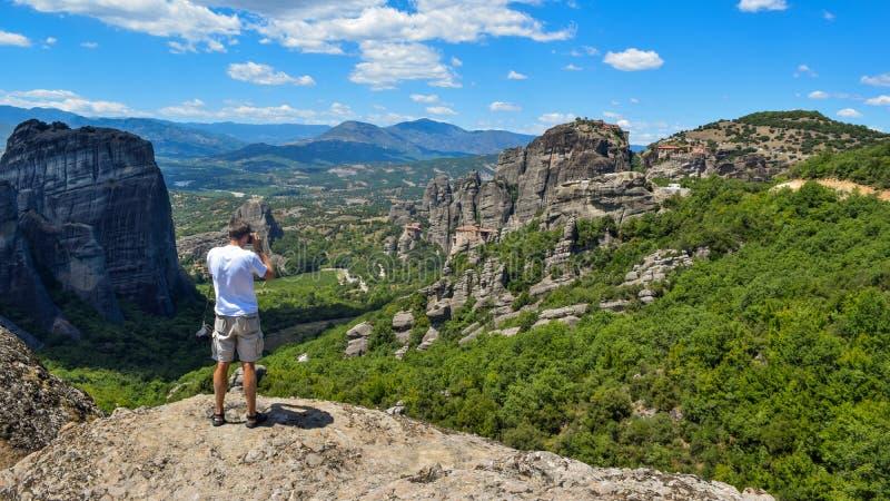 Утесы Meteora в Греции стоковые фотографии rf