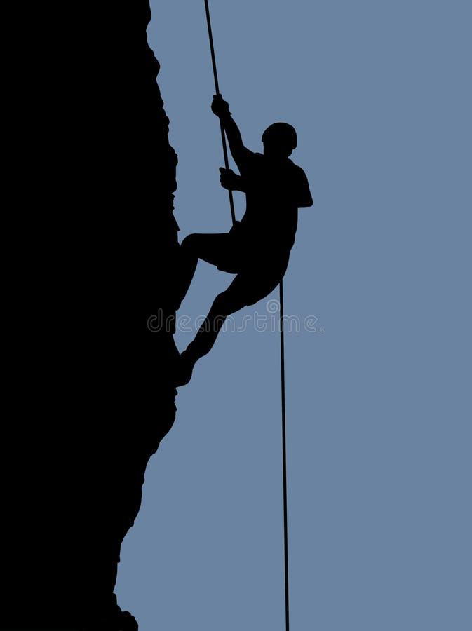 утес альпиниста иллюстрация штока