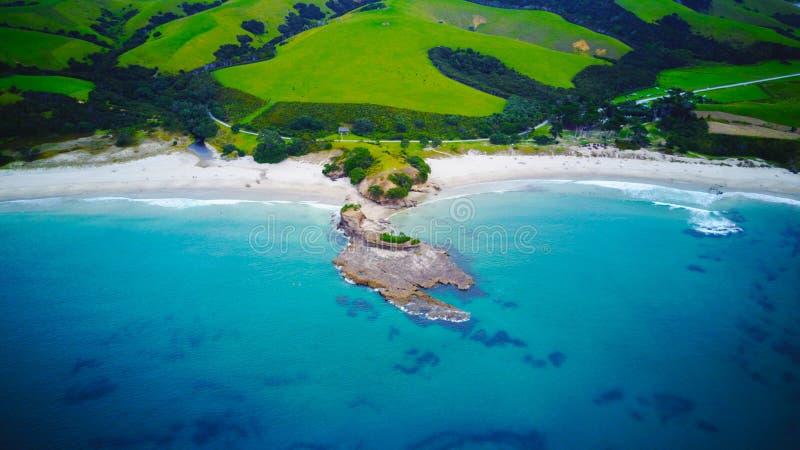 Утес в заливе анкера, Новой Зеландии стоковые изображения rf