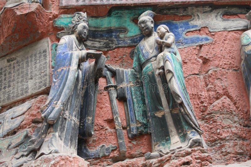 утес горы ding dazu carvings bao стоковые изображения