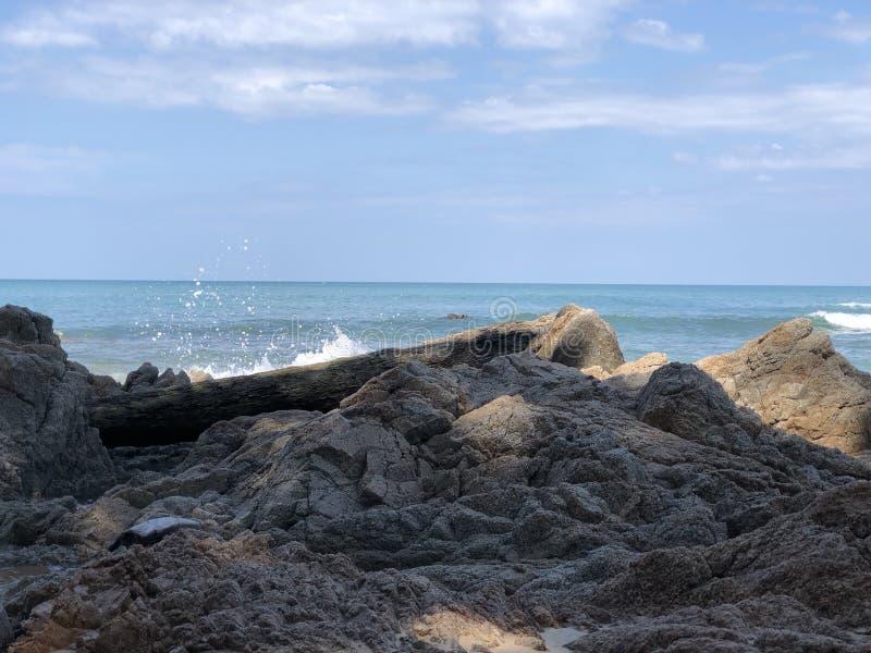 Утес и пляж стоковые изображения rf
