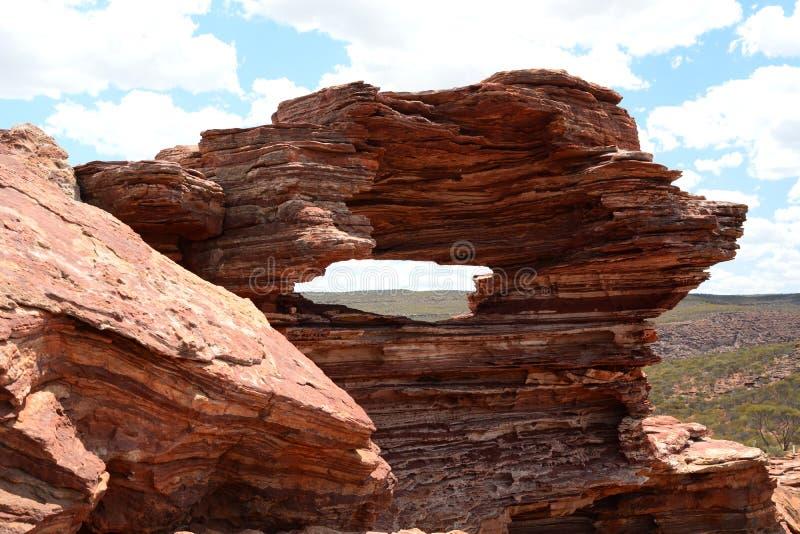 Утес природы ` s окна Национальный парк Kalbarri Западное Австралия australites стоковое фото rf