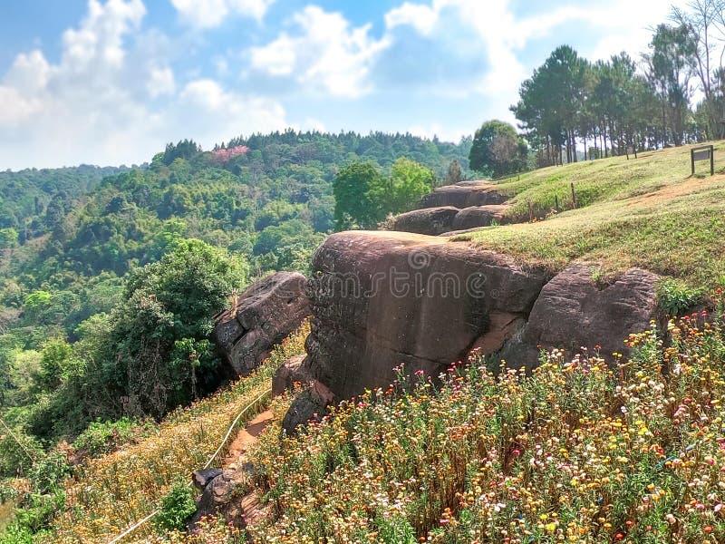 Утес скалы, национальный парк Phu Hin Rong Kla, Phitsanulok, Таиланд стоковая фотография rf