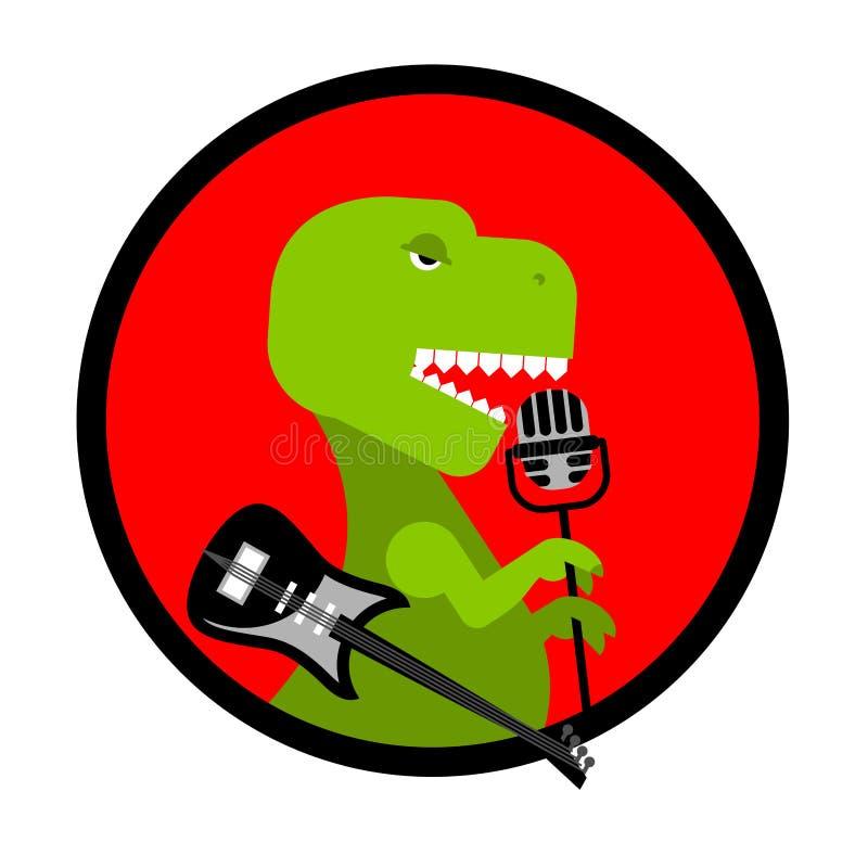 Утес Dino Тиранозавр поет песню Динозавр с гитарой Ancien иллюстрация штока