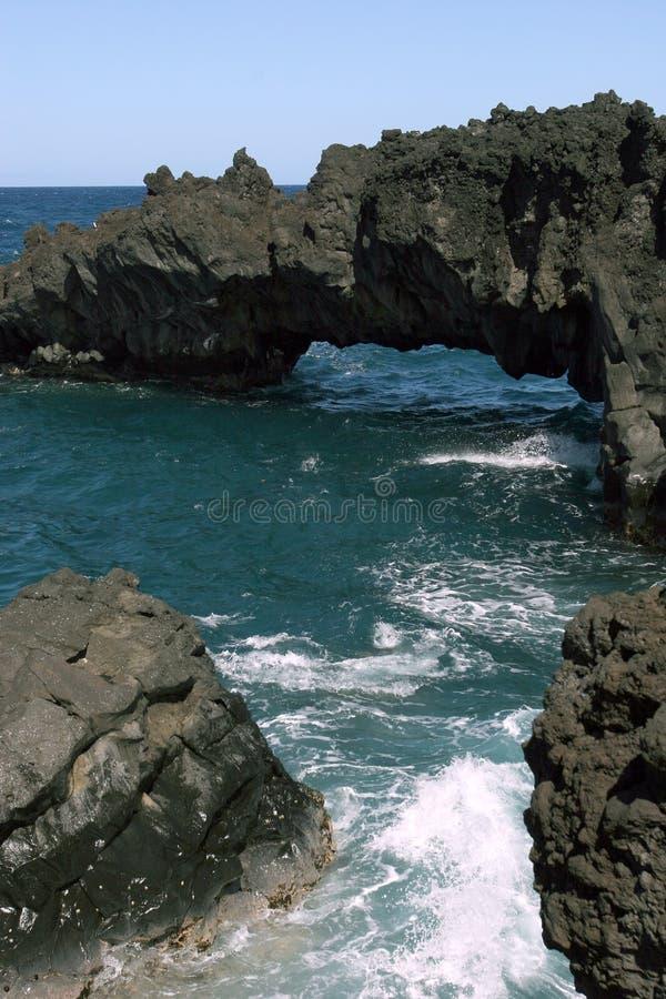 утес hawaiian образований пляжа стоковая фотография rf