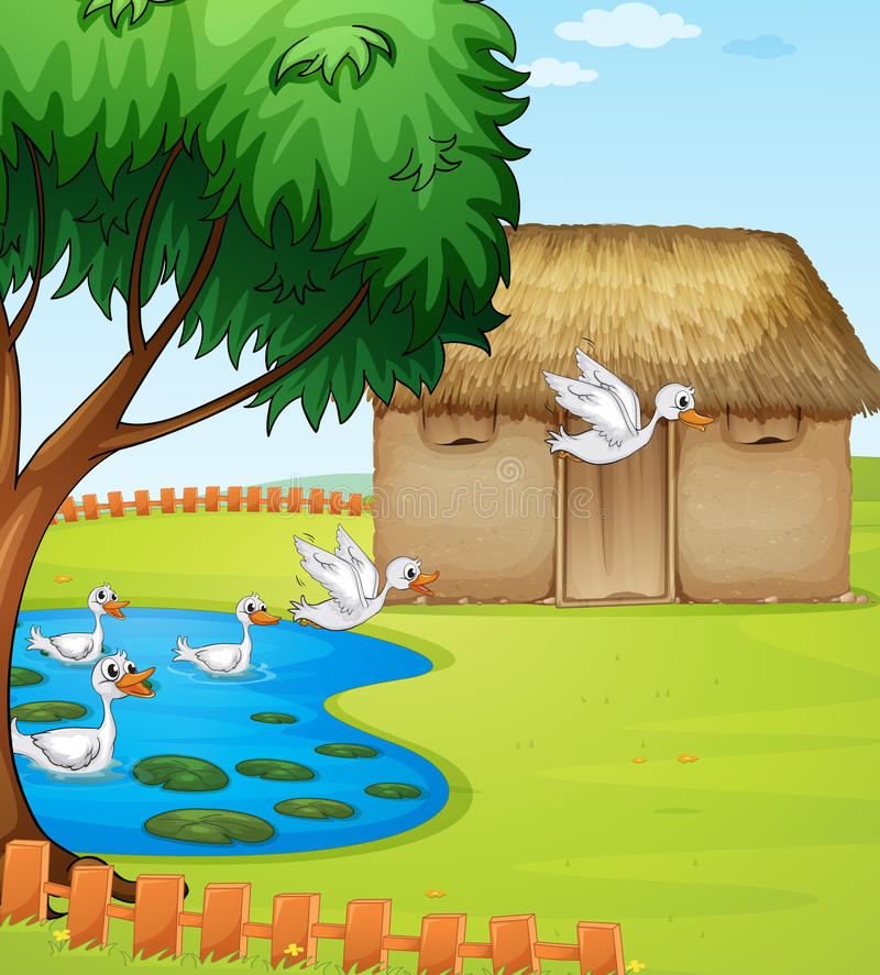 Утки, дом и красивый ландшафт иллюстрация штока