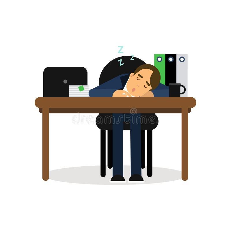 Утомленный бизнесмен спать на его стуле в офисе, вымотанная иллюстрация вектора шаржа работника расслабляющая иллюстрация вектора