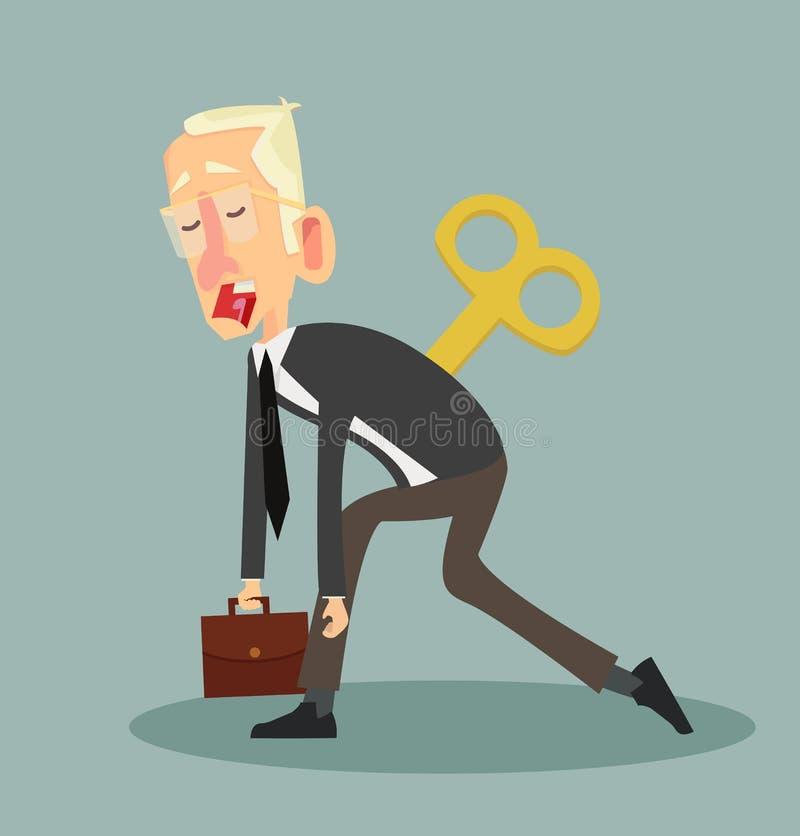 Утомленный бизнесмен с ключом Clockwork иллюстрация штока