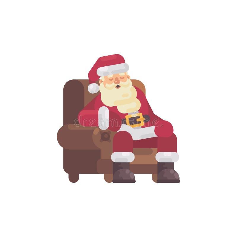 Утомленный Санта Клаус спать в кресле после поставлять подарки бесплатная иллюстрация