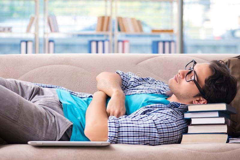 Утомленный студент лежа на софе стоковые фото