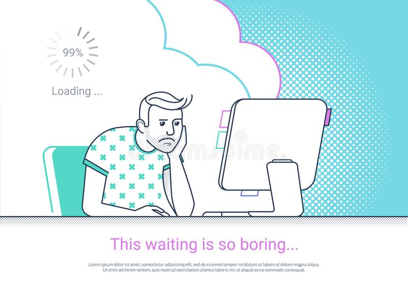 Утомлянный и пробуренный человек работает с столом компьютера дома иллюстрация штока