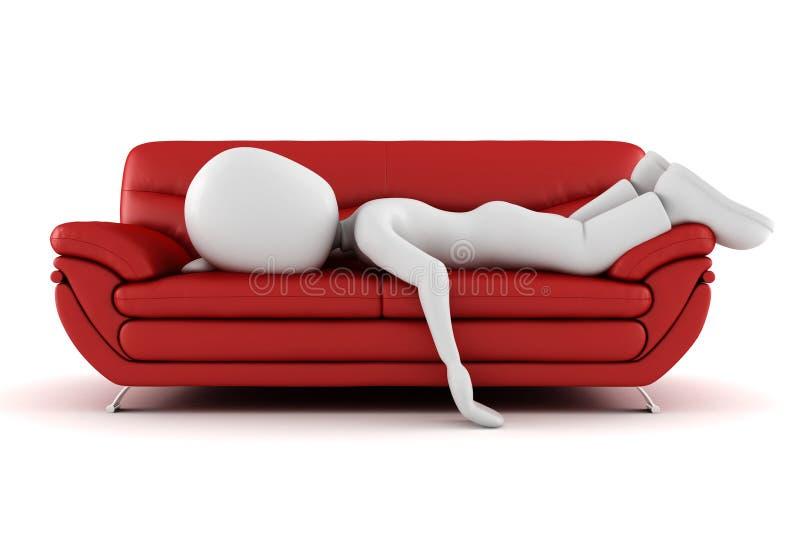 утомлянный спать человека кресла 3d иллюстрация штока