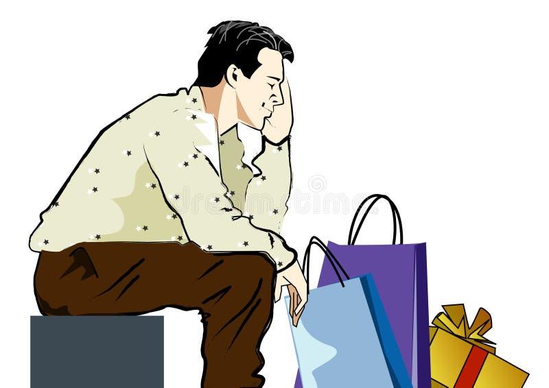 утомлянный ходить по магазинам иллюстрация штока