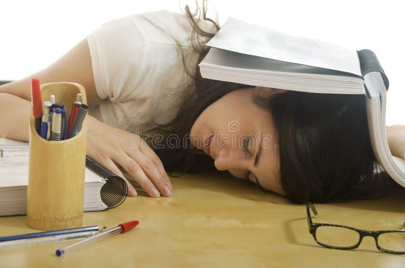 Утомленная девушка студента стоковая фотография