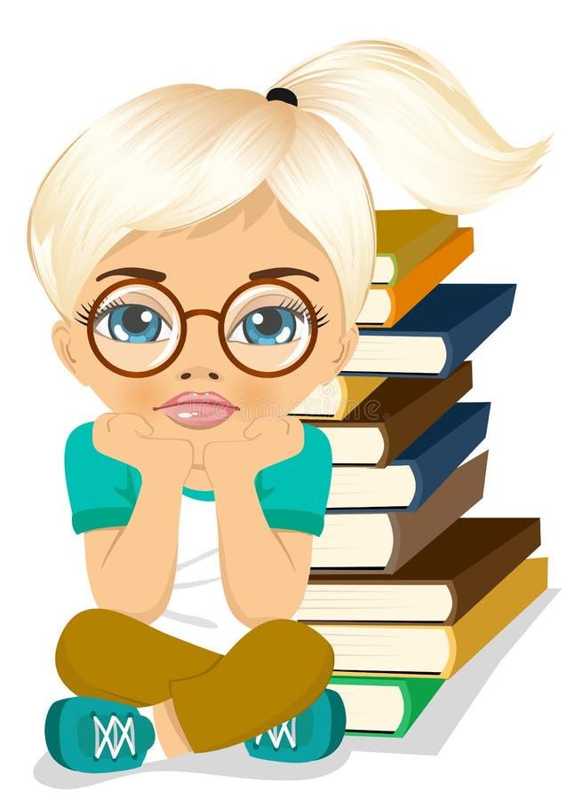 Утомленная маленькая девочка думая глубоко о что-то бесплатная иллюстрация