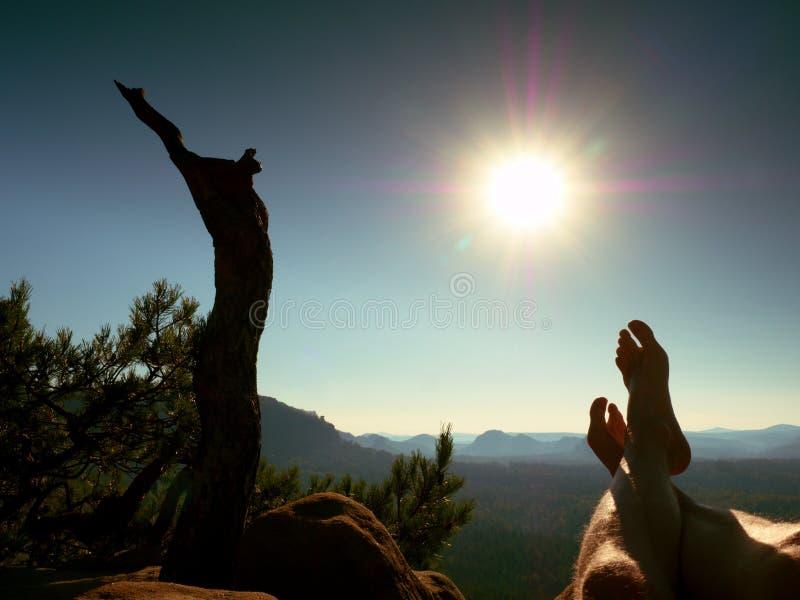 Утомленные потные ноги на пике утеса на сломленной сосне Горячий windless летний день стоковая фотография rf