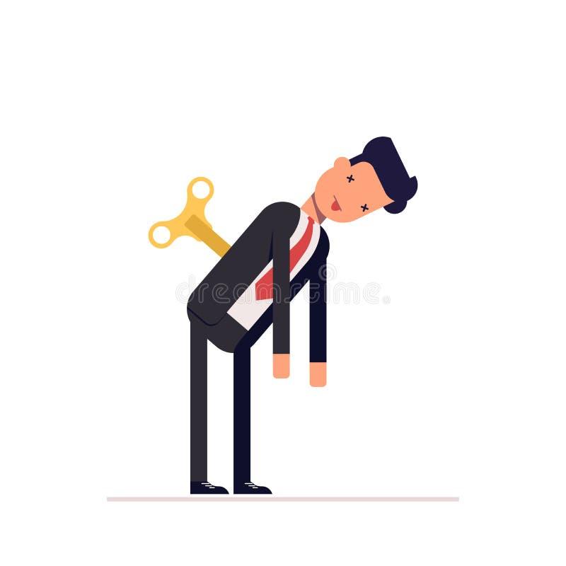 Утомленные стойки бизнесмена или менеджера Энергия недостатка для того чтобы сделать работу иллюстрация вектора