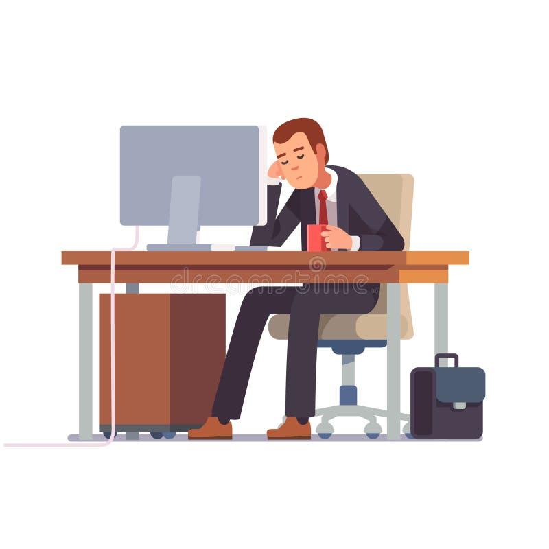 Утомленный бизнесмен спать на его столе офиса иллюстрация вектора