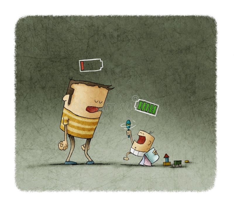 Утомленный отец и младенец играя с батареями над головой иллюстрация вектора