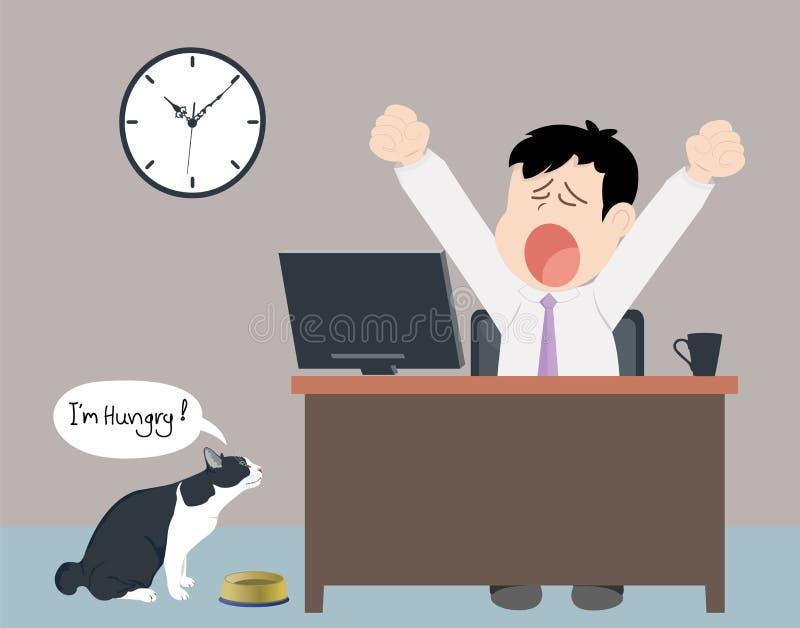 Утомленный человек работы ежедневный иллюстрация штока