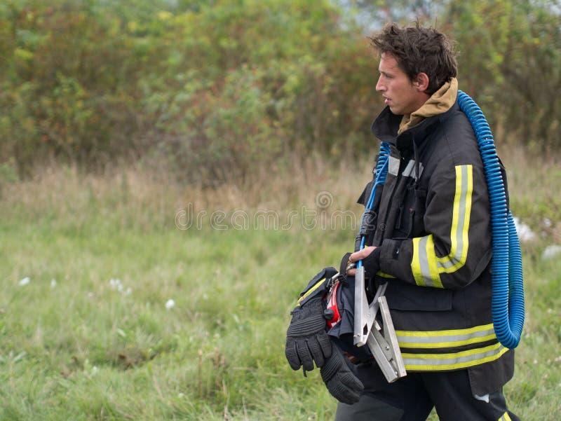 утомлянный пожарный стоковое фото rf