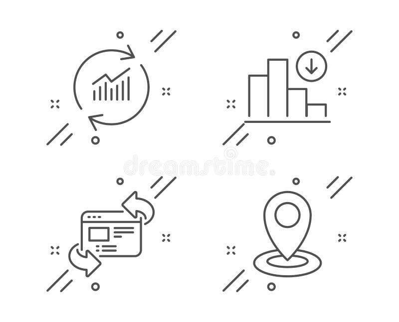 Уточните данные, освежите вебсайт и уменьшая набор значков диаграммы Знак положения r иллюстрация штока