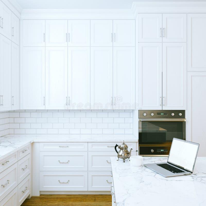 Утро в белом классическом интерьере кухни стоковое фото rf