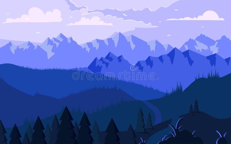 Утро в горах - минималистская иллюстрация иллюстрация штока