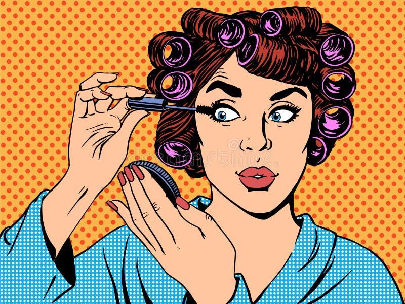 Утро красоты волос состава пермей женщины иллюстрация вектора
