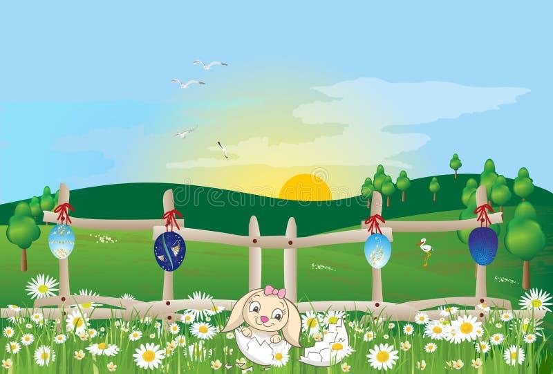 Утро пасхи с пасхальными яйцами и зайцами бесплатная иллюстрация