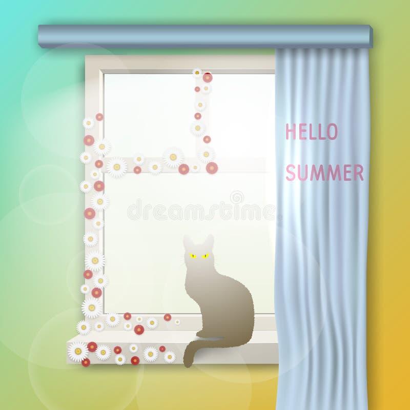Утро раннего лета солнечное кот сидит на окне с цветками Здравствуйте! лето бесплатная иллюстрация