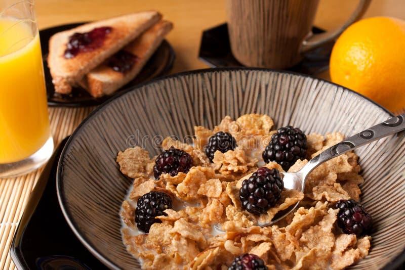 утро хлопий для завтрака стоковая фотография
