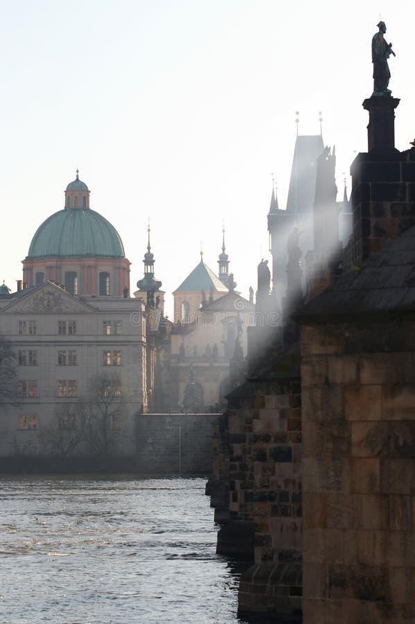 утро charles моста стоковое фото
