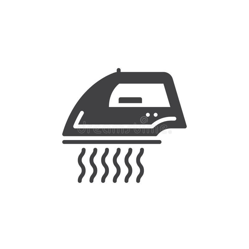 Утюг пара для вектора значка одежд, заполненного плоского знака, твердой пиктограммы изолированной на белизне бесплатная иллюстрация