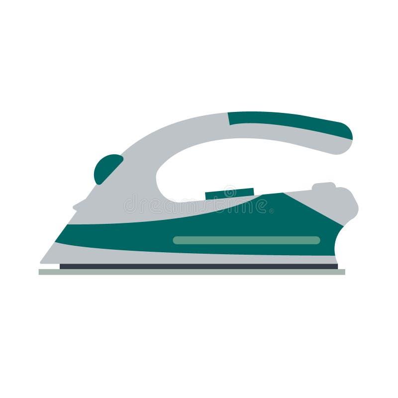 Утюг сини изолированный на белой предпосылке - иллюстрации Плоское электротехническое оборудование логотипа значка, утюжа электри иллюстрация штока
