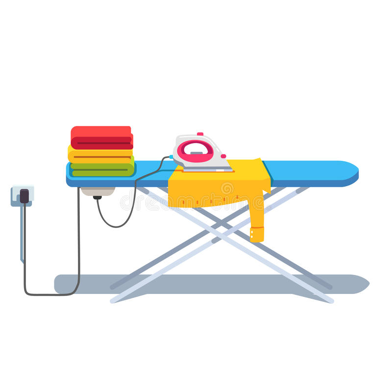 Утюжа доска с стогом и электрическим утюгом одежд бесплатная иллюстрация