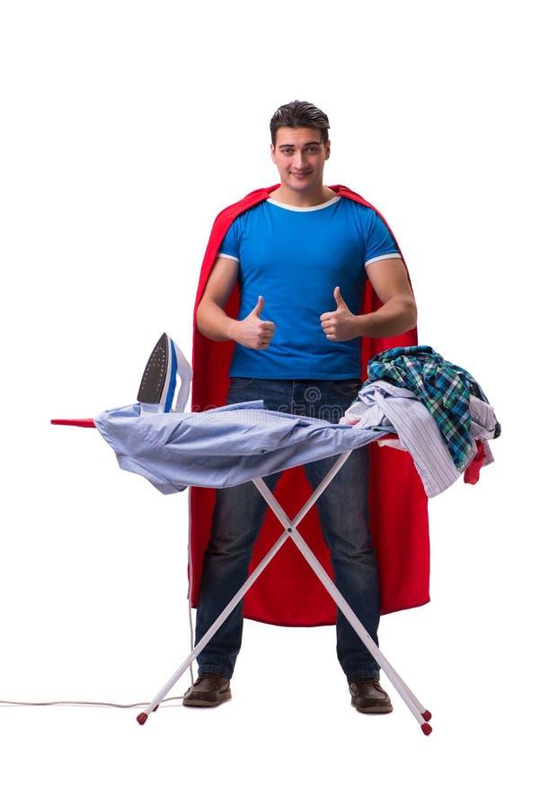 Утюжить супруга человека супергероя изолированный на белизне стоковое фото