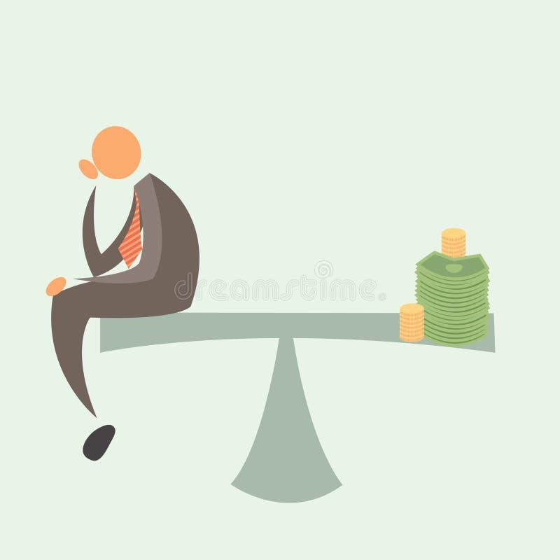 Утяжеленный равный: Бизнесмен и деньги. бесплатная иллюстрация