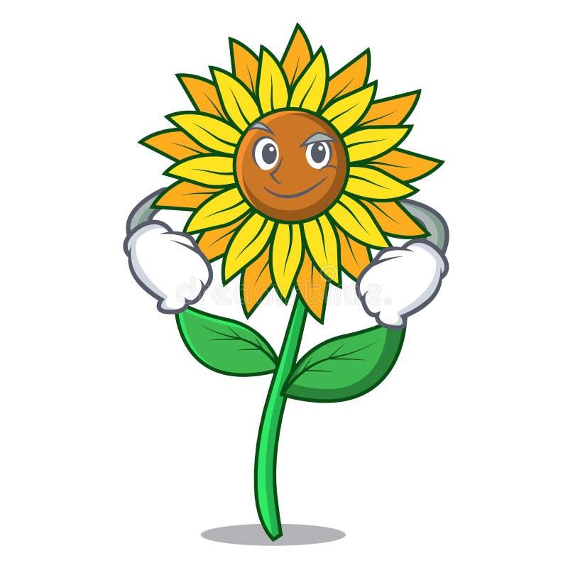 Ухмыляясь стиль шаржа характера солнцецвета бесплатная иллюстрация