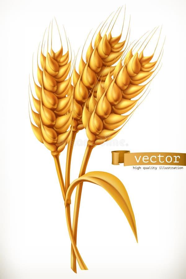 Ухо пшеницы зацепляет икону иллюстрация вектора