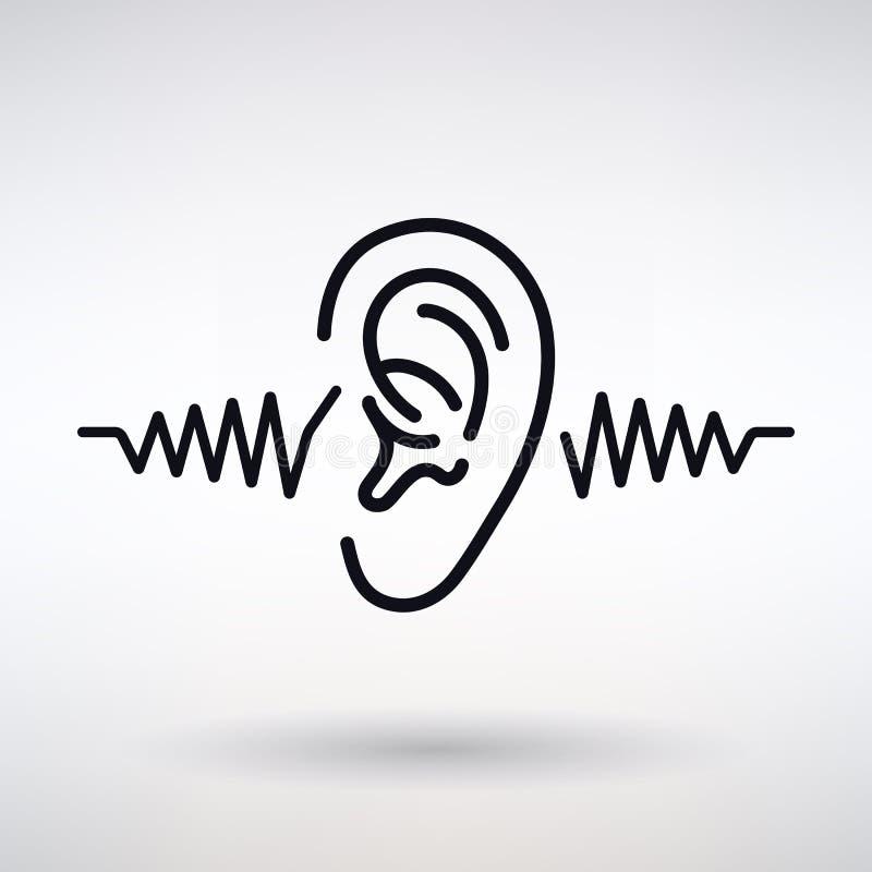Ухо слушает значок иллюстрация штока