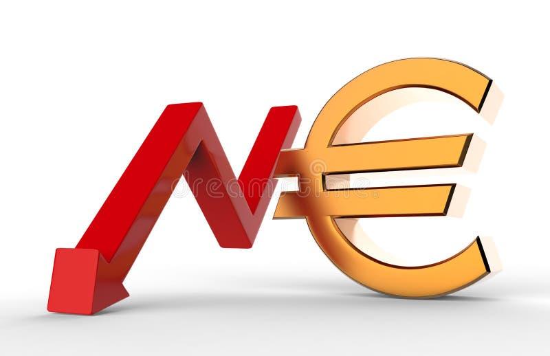 Ухудшающаяся стрелка роста с знаком символа евро 3d Концепция экономического спада иллюстрация 3d иллюстрация штока
