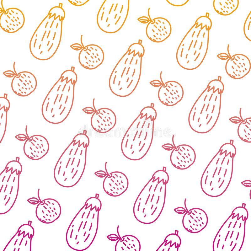 Ухудшенная линия оранжевая предпосылка овоща плода и баклажана иллюстрация вектора