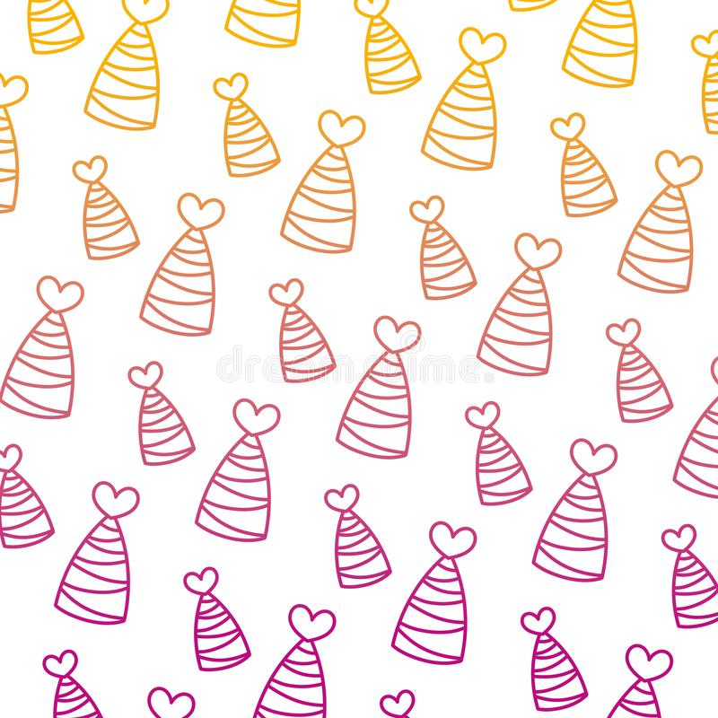 Ухудшенная линия шляпа партии с линиями и предпосылкой украшения сердца иллюстрация штока